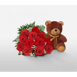 Bouquet de 40 roses rouges + Nounours offert
