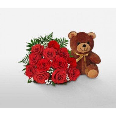 Bouquet 40 Roses Rouges + Nounours OFFERT