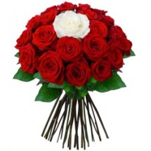 Bouquet de 30 Roses Rouges & 10 Roses Blanches